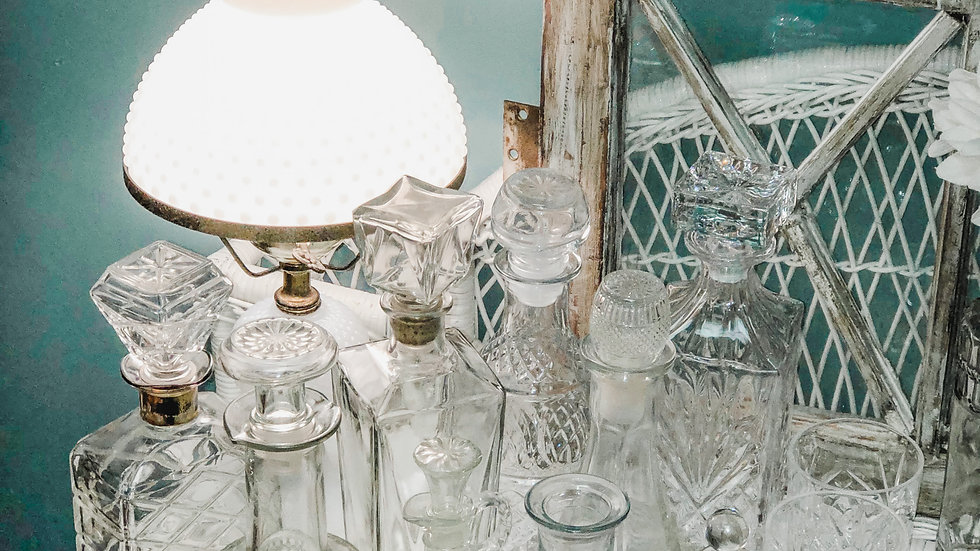 Clear Glass Decanters and Vases