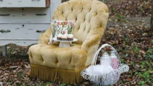 Mustard Tufted Chair with Fringe