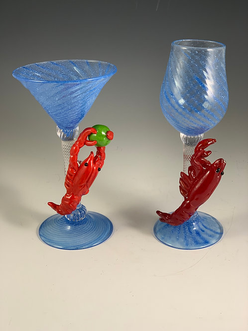 Crawfish Goblets or Martini Glasses