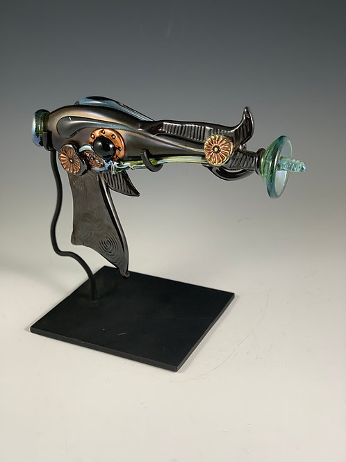 Glass Steampunk Futuristic Ray Gun - with Stand