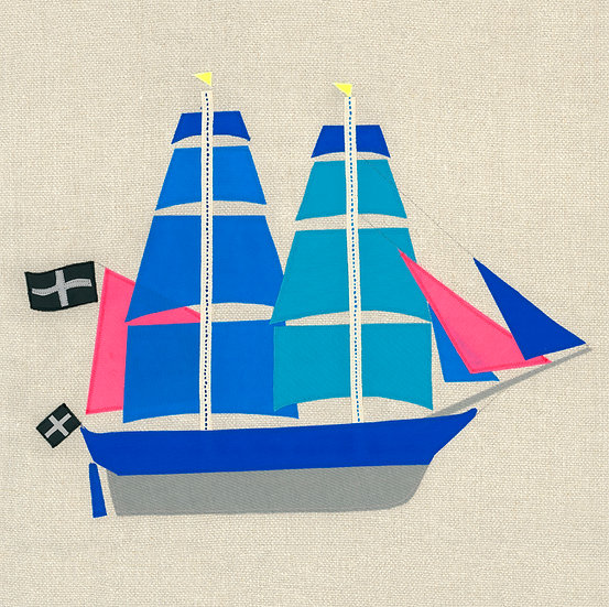 Falmouth Packet Ship Blue/Pink
