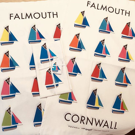 Falmouth working boat tea towel