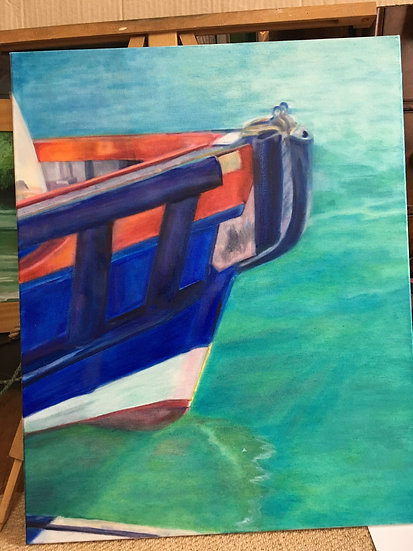 """"""" Salcombe Blue """" Oil Painting"""