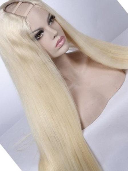 "100% Virgin Brazillian Hair Platinum Blonde wig U part Style human hair 24"""