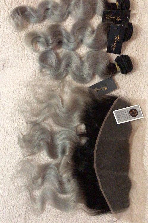 1B/GREY ROOT BRAZILIAN VIRGIN OMBRE HAIR BUNDLES+FRONTAL 8A