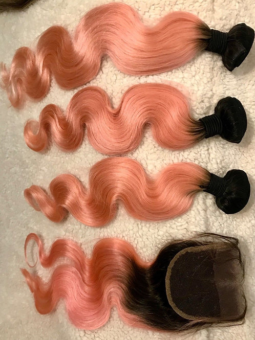 1/B pink/ Rose Gold Color Brazilian Human Hair Weave Bundles with Closure