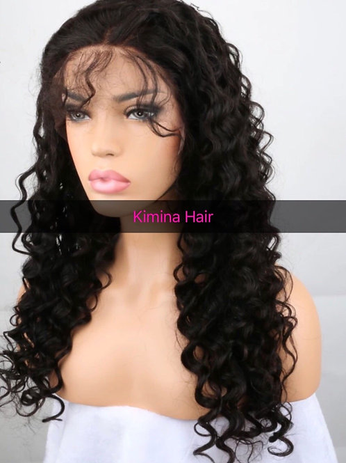 """Pre Plucked Full lace wig Brazilian Deep Wave Hair 16"""""""