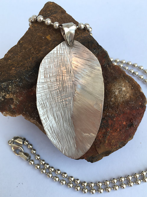 Solid Silver Ball Chain with Vintage Spoon 'leaf'