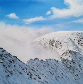 Ben Goymour - Striding Edge in the snow, fine art landscape painting