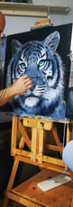 Ben Goymour - Tiger Oil Painting - Monochrome art