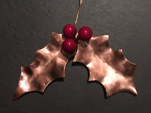 Decadent decorations -Upcycled Copper leaves: Holly