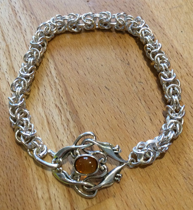 Chainmaille bracelet with upcycled earring clasp