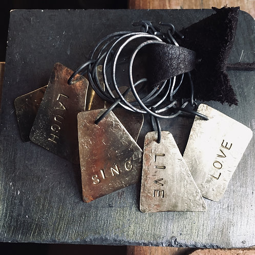 Upcycled Brass wine glass tags