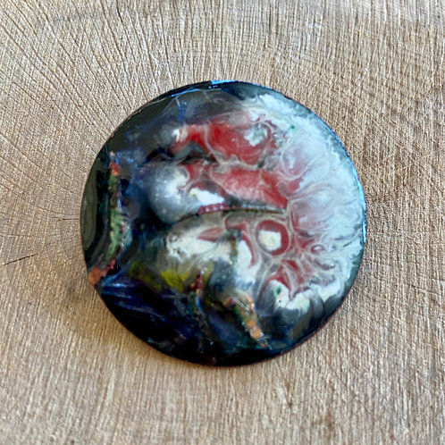 Vitreous enamel on copper round brooch - Red, White & Blue swirled