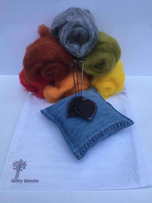 Upcycled Needle Felting kit - Autumn / Rustic Seasonal shades