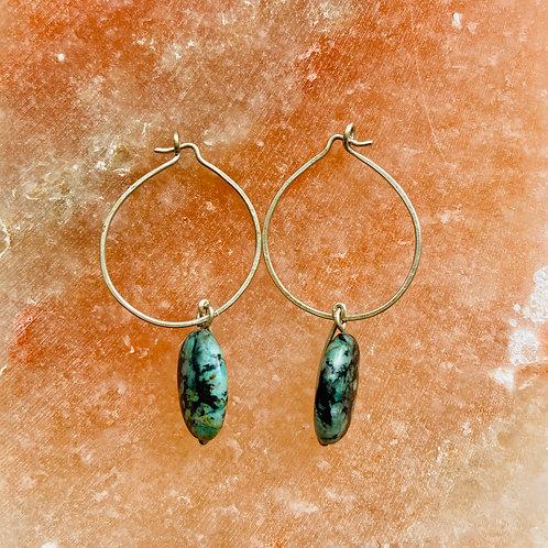 Argentum Silver & African Jasper hoop earrings