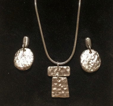Fine silver pendant and earrings set