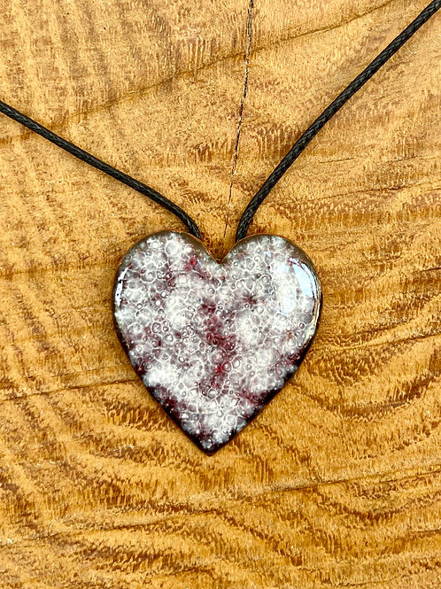 Vitreous enamel on copper heart pendant
