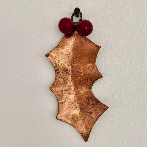 Decadent decorations -Upcycled Copper leaf: Holly