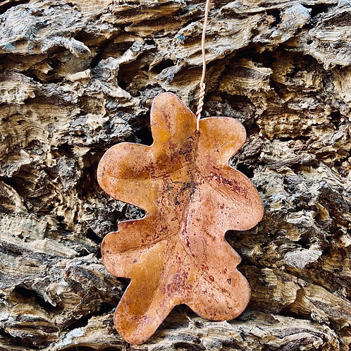 Decadent decorations -Upcycled Copper leaf: Pendunculant Oak