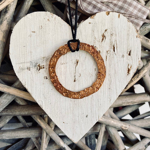 Upcycled Copper pendant - Heart textured