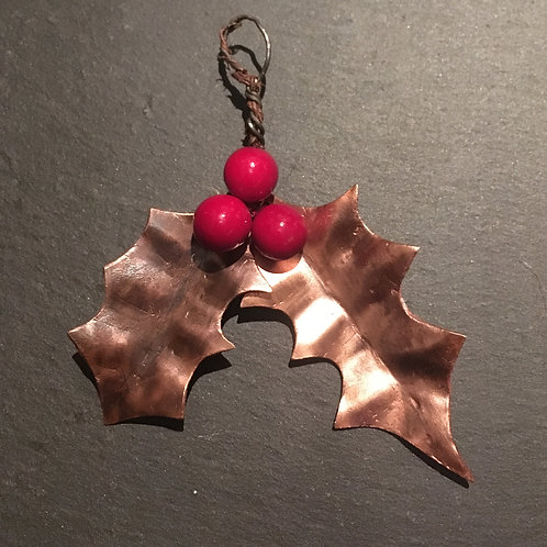 Decadent Decorations - Upcycled Copper leaves: Holly