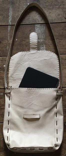 Hand stitched leather iPad satchel