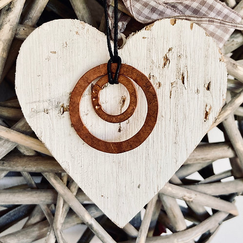 'Love inside' Upcycled Copper double pendant - hammered