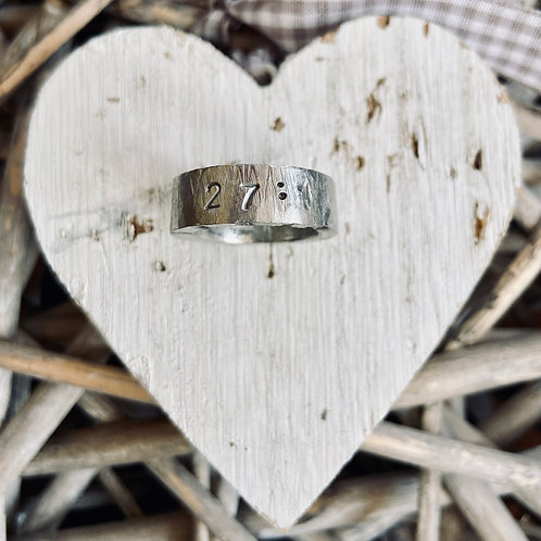 Chunky Cast Pewter Psalm Ring - 3mm x 8mm