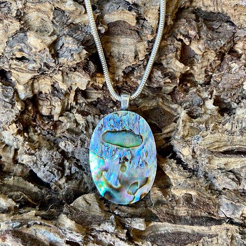 Paua shell pendant on Silver snake chain