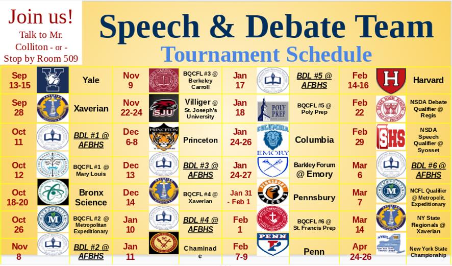 Tournament Schedule 2019-2020