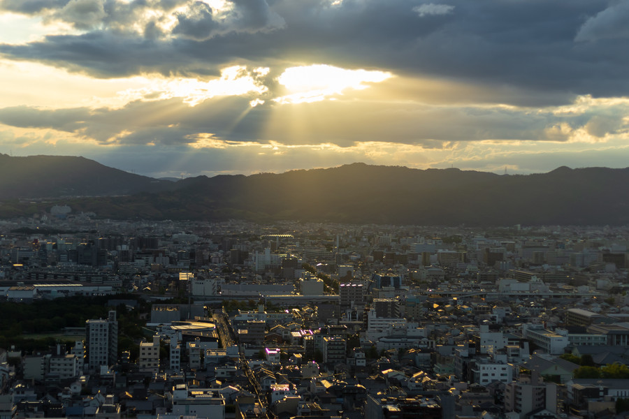 Sunlight shining down on Kyoto