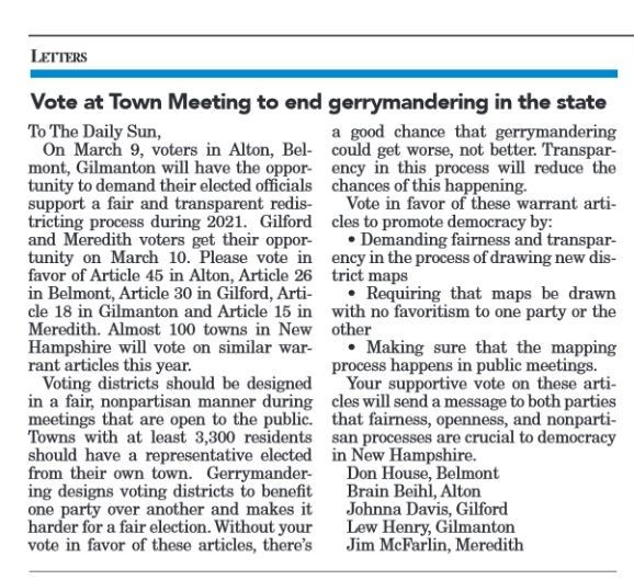 Vote for nonpartisan redistricting