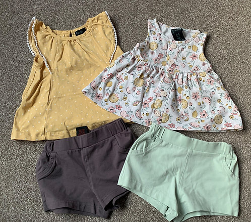 Baby Girl set of two shorts and two blouses 9-12m