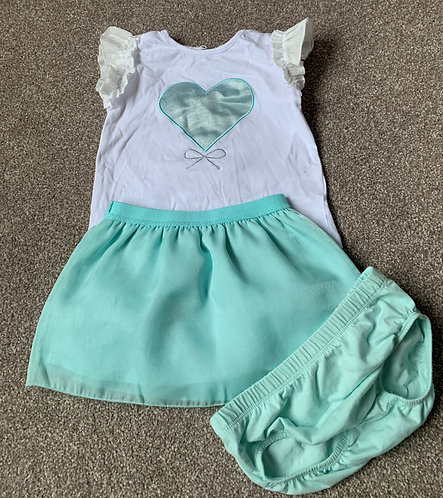 Baby Girl Outfit matched voile skirt, t-shirt and underpants - up to 12m