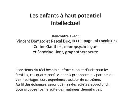 Rencontre autour du Haut Potentiel Intellectuel à Bourgoin-Jallieu Vendredi 20 septembre à 20h00