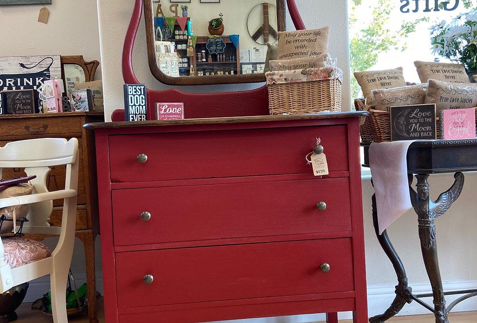 Antique Red Dresser with Mirror