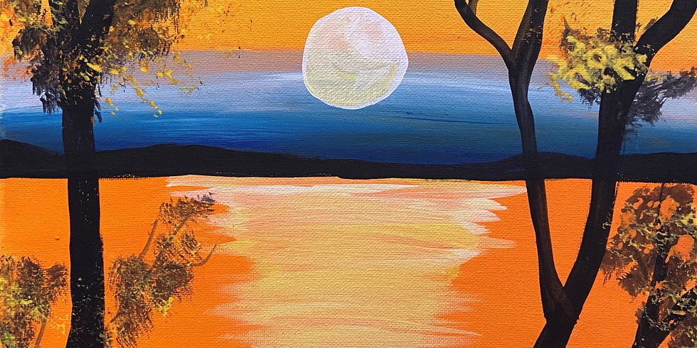 Sunset on the River Painting with Shawnee
