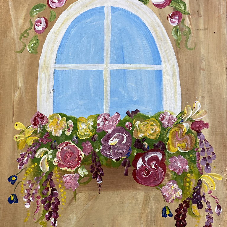 Painting Window of flowers with Shawnee