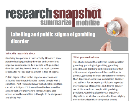 Research Snapshot Published by Gambling Research Exchange Ontario (GREO)