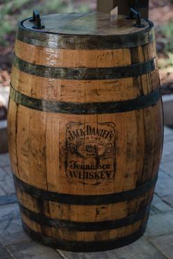 Whiskey Barrel Wastebasket