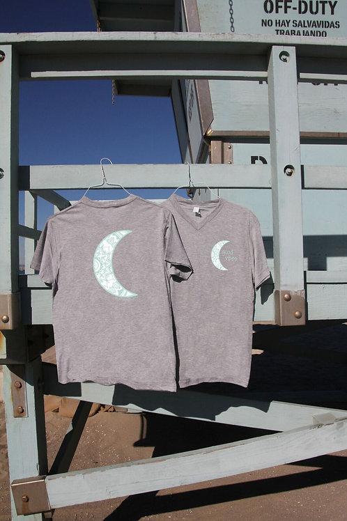 Crescent Moon Heathered Gray V-Neck Shirt