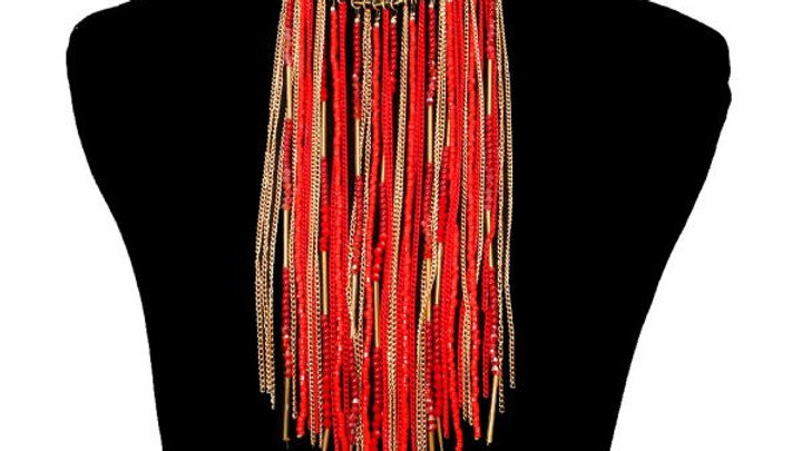 Red Fringe necklace