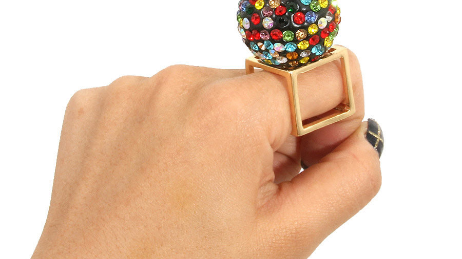 Oversized multi colored ring