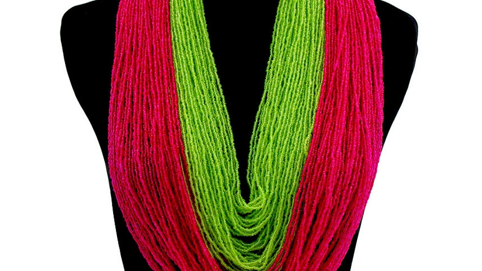 Pink & Green layers necklace