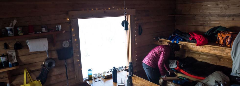 The interior of Moose Creek Cabin.