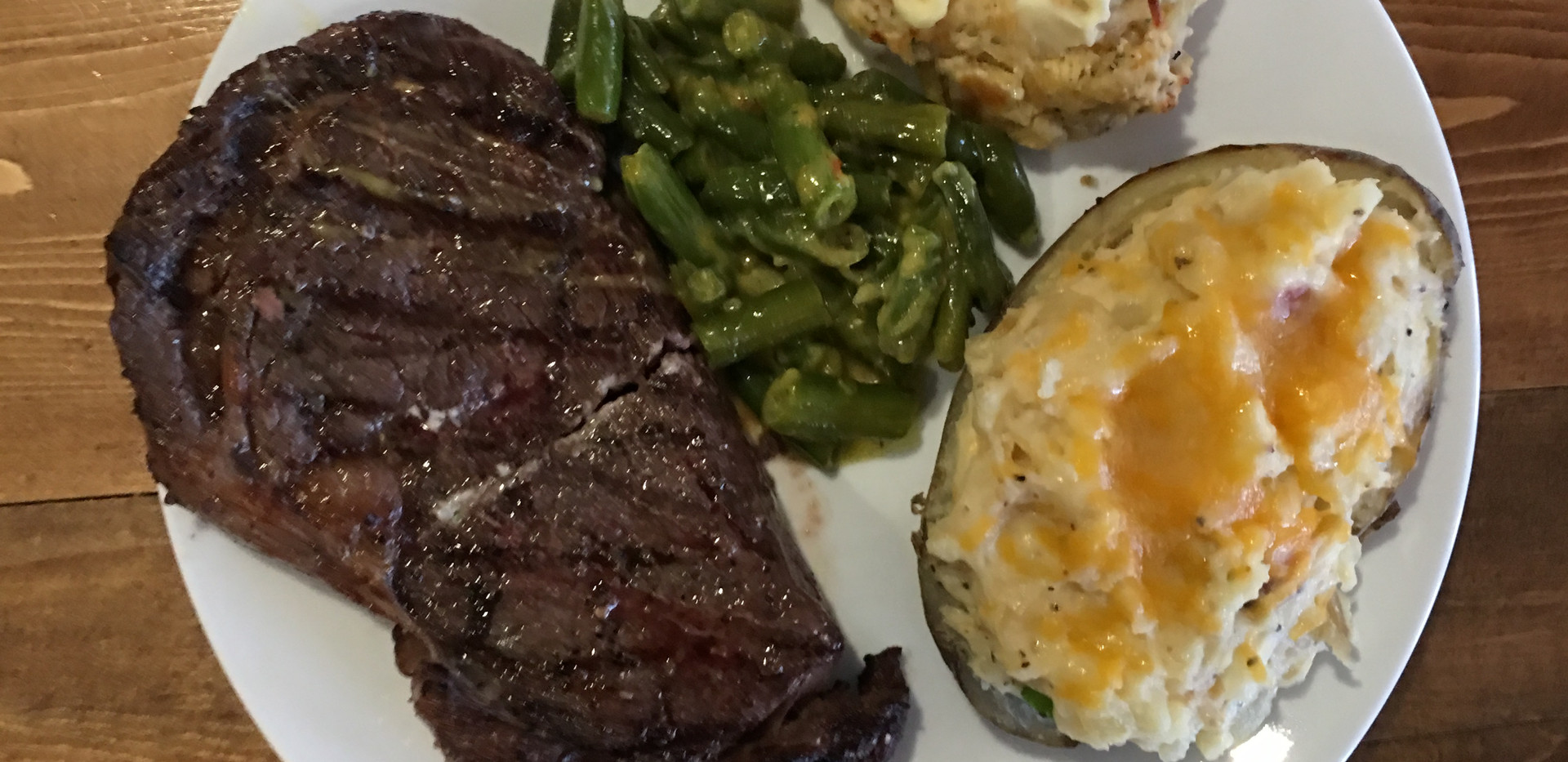 Steak and twice baked potatoes. We are always spoiled at Clearwater!