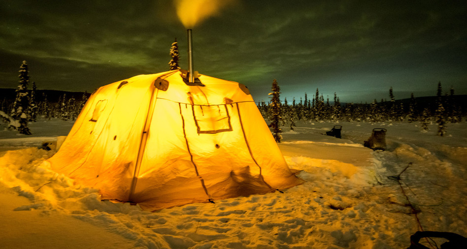 """The """"Lodge"""" -- our 12x18 heated tent."""