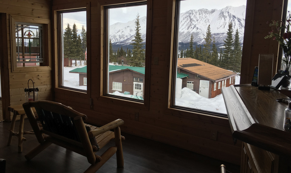 Big picture windows overlooking the Susitna River Valley and the lodge's namesake mountain, Clearwater.