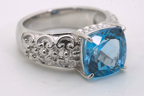 Cushion Cut Swiss Blue Topaz Ring